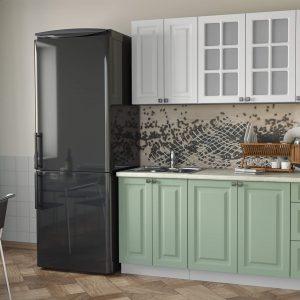 Кухня Мила Деко МДФ тип А прямая 1,7 метра мята белый в интерьере