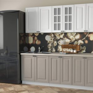 Кухня Мила Деко МДФ тип А прямая 2,3 метра луна белый в интерьере