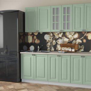 Кухня Мила Деко МДФ тип А прямая 2,3 метра мята в интерьере