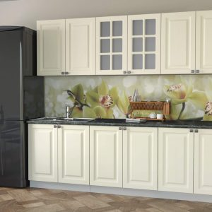Кухня Мила Деко МДФ тип А прямая 3,0 метра слоновая кость в интерьере