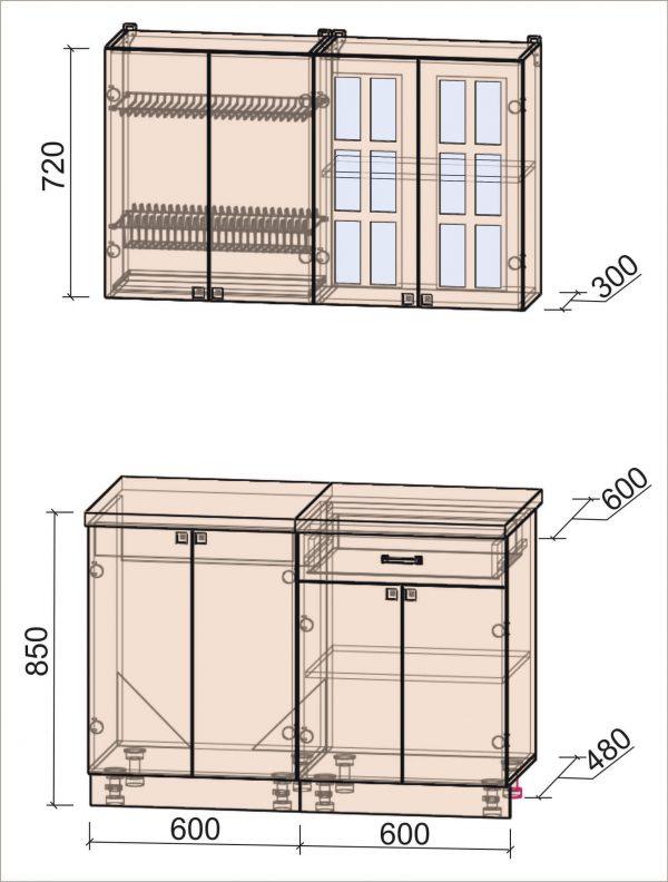 Схема кухни Мила Деко тип А 1,2 метра