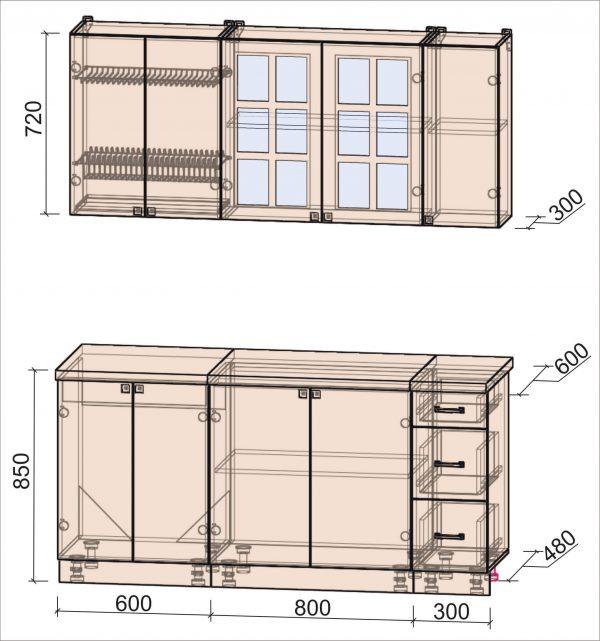 Схема кухни Мила Деко тип А 1,7 метра