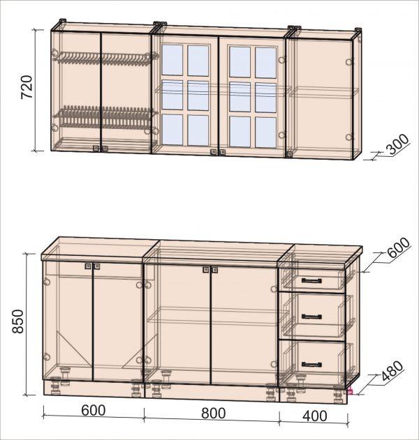 Схема кухни Мила Деко тип А 1,8 метра