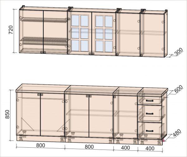Схема кухни Мила Деко тип А 2,4 метра