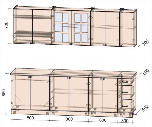 Схема кухни Мила Деко тип А 2,5 метра