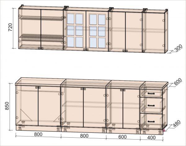 Схема кухни Мила Деко тип А 2,6 метра