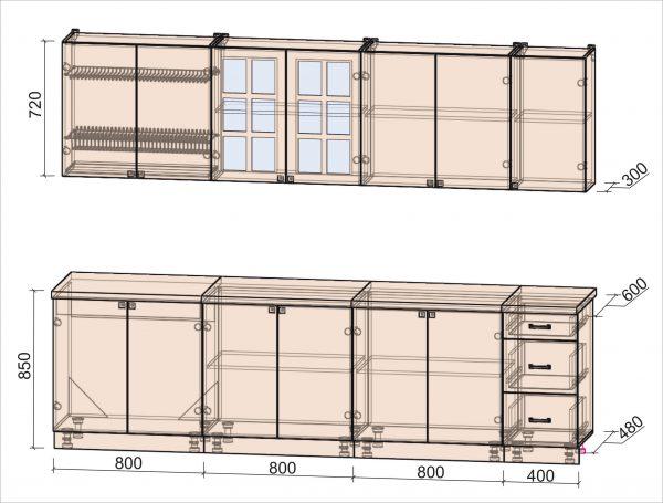 Схема кухни Мила Деко тип А 2,8 метра