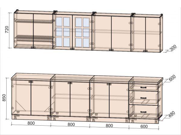 Схема кухни Мила Деко тип А 3,0 метра