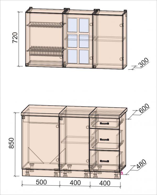 Схема кухни Мила Деко тип Б 1,3 метра