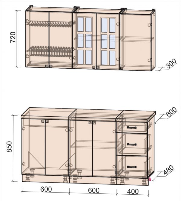 Кухня Мила Деко тип Б 1,6 метра