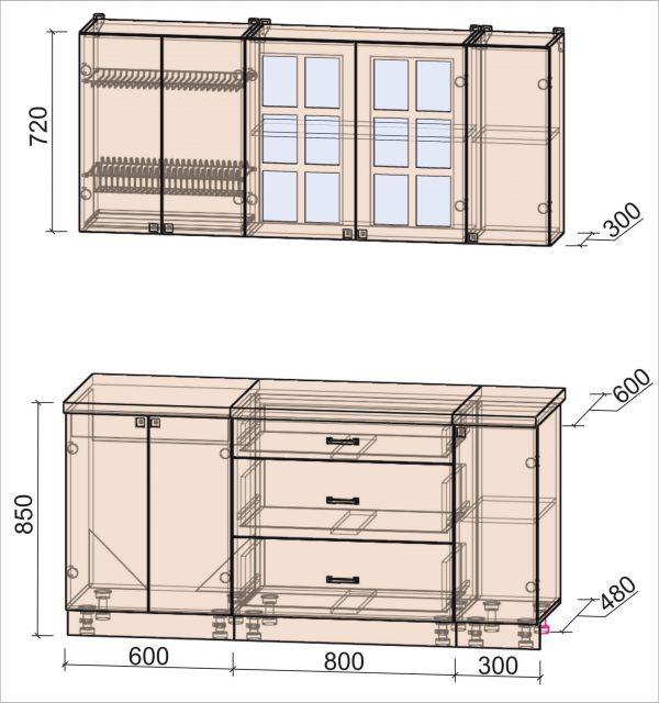 Схема кухни Мила Деко тип Б 1,7 метра