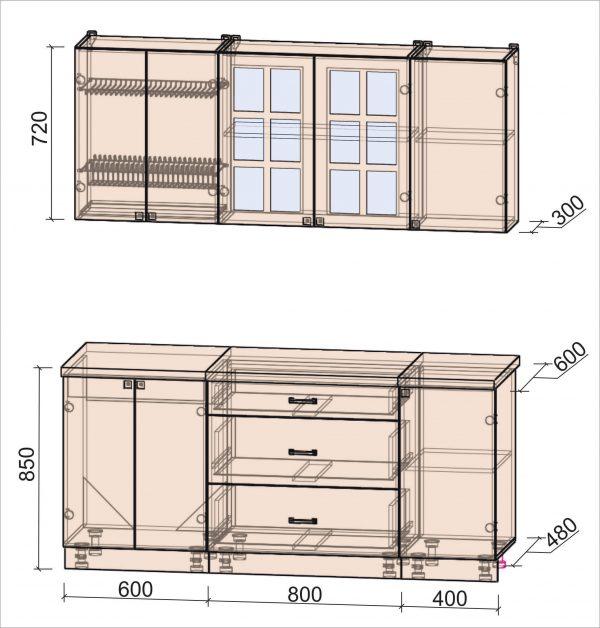 Схема кухни Мила Деко тип Б 1,8 метра