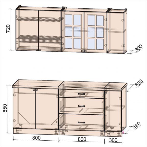 Схема кухни Мила Деко тип Б 1,9 метра