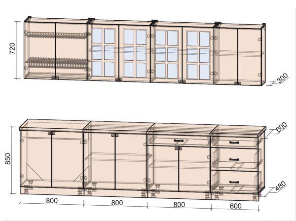 Схема кухни Мила Деко тип Б 3,0 метра