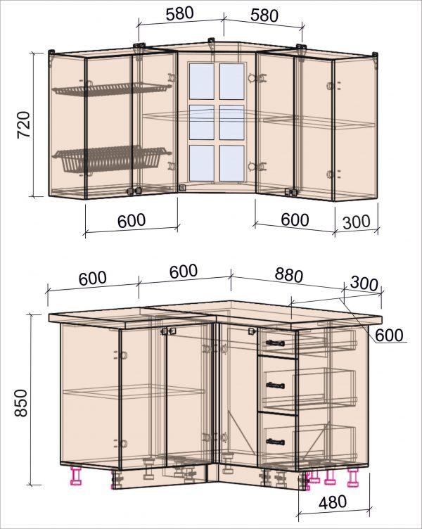 Схема угловой кухни Мила Деко 1,2 х 1,2 метра