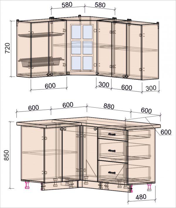 Схема угловой кухни Мила Деко 1,2 на 1,5 метра