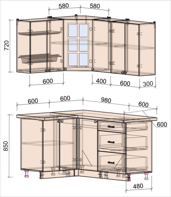 Схема угловой кухни Мила Деко 1,2 на 1,6 метра