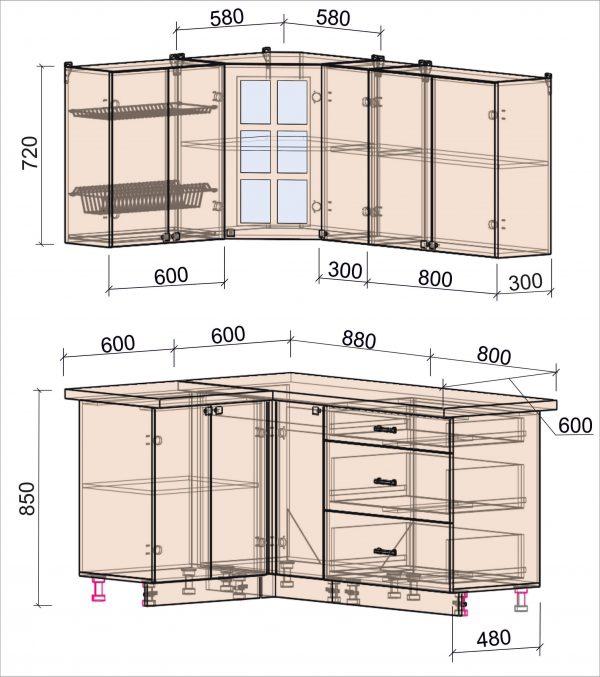 Схема угловой кухни Мила Деко 1,2 на 1,7 метра