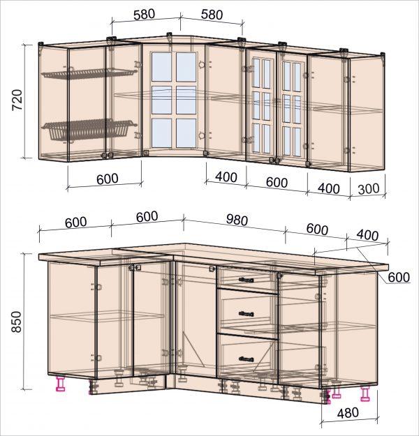 Схема угловой кухни Мила Деко 1,2 х 2,0 метра