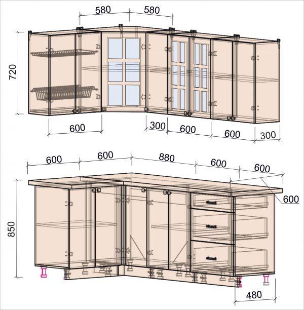 Схема угловой кухни Мила Деко 1,2 х 2,1 метра