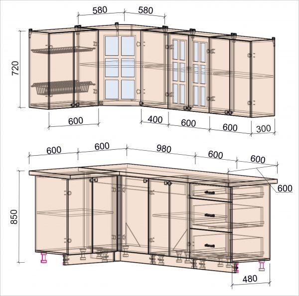 Схема угловой кухни Мила Деко 1,2 х 2,2 метра