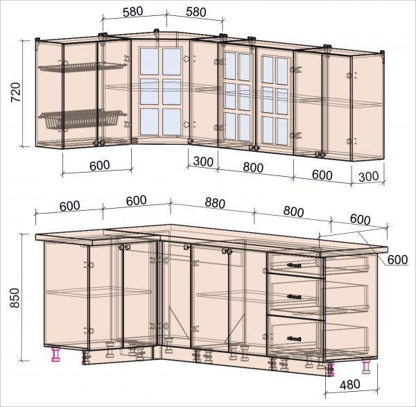 Схема угловой кухни Мила Деко 1,2 х 2,3 метра