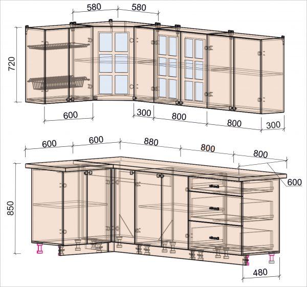 Схема угловой кухни Мила Деко 1,2 х 2,5 метра