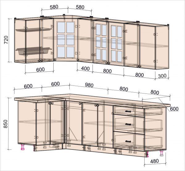 Схема угловой кухни Мила Деко 1,2 х 2,6 метра