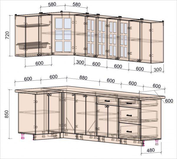 Схема угловой кухни Мила Деко 1,2 х 2,7 метра