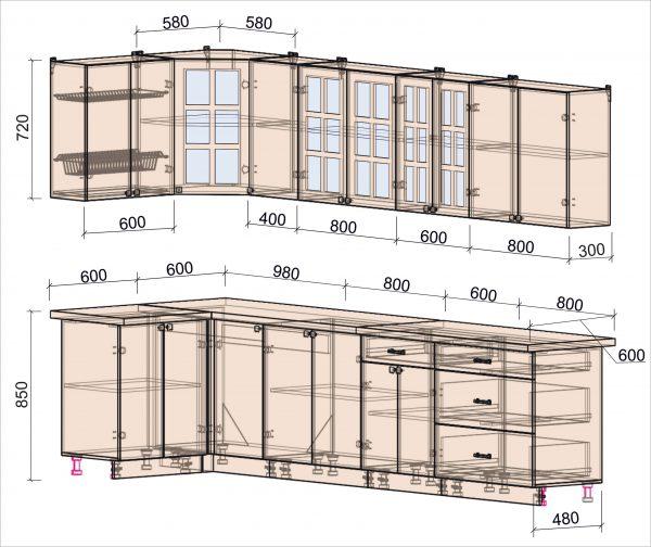 Схема угловой кухни Мила Деко 1,2 х 3,2 метра