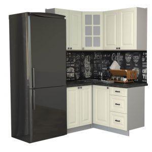Угловая кухня Мила Деко МДФ 1,2 х 1,4 метра слоновая кость