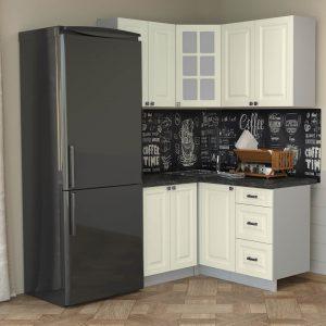 Угловая кухня Мила Деко МДФ 1,2 х 1,4 метра слоновая кость в интерьере