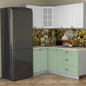 Угловая кухня Мила Деко МДФ 1,2 х 1,8 метра мята белый в интерьере