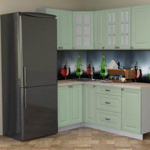 Угловая кухня Мила Деко МДФ 1,2 х 1,9 метра мята в интерьере