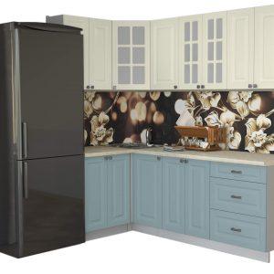 Угловая кухня Мила Деко МДФ 1,2 х 2,2 метра океан слоновая кость