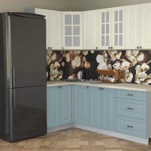 Угловая кухня Мила Деко МДФ 1,2 х 2,2 метра океан слоновая кость в интерьере