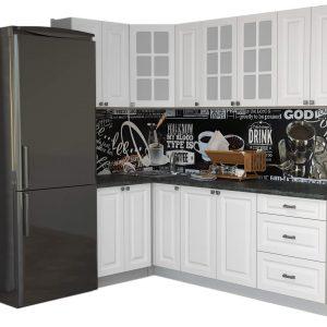 Угловая кухня Мила Деко МДФ 1,2 х 2,3 метра белый