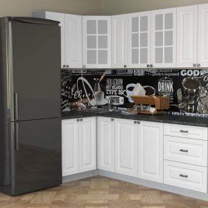 Угловая кухня Мила Деко МДФ 1,2 х 2,3 метра белый в интерьере
