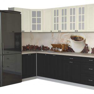 Угловая кухня Мила Деко МДФ 1,2 х 2,8 метра пепел слоновая кость