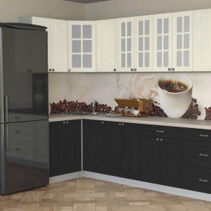 Угловая кухня Мила Деко МДФ 1,2 х 2,8 метра пепел слоновая кость в интерьере