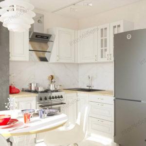Угловая кухня Бостон 22 МДФ прямая 1,5 х 1,3 метра акация белая